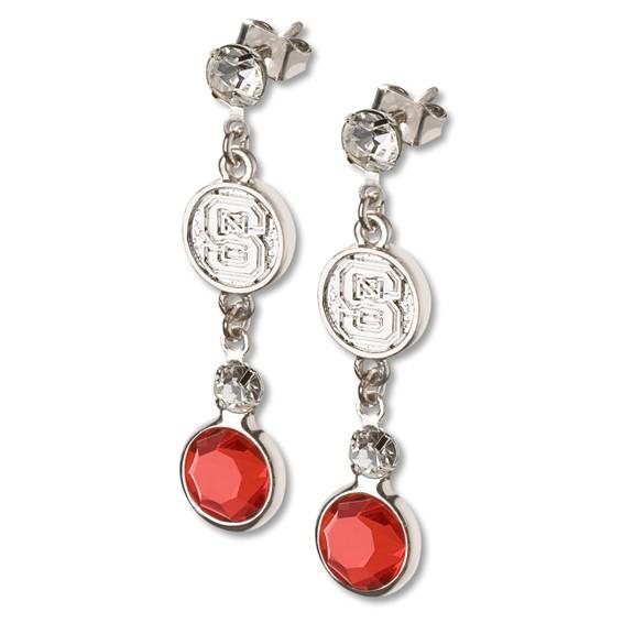 North Carolina State Crystal Logo Earrings