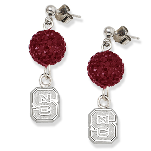North Carolina State University Crystal Ovation Earrings