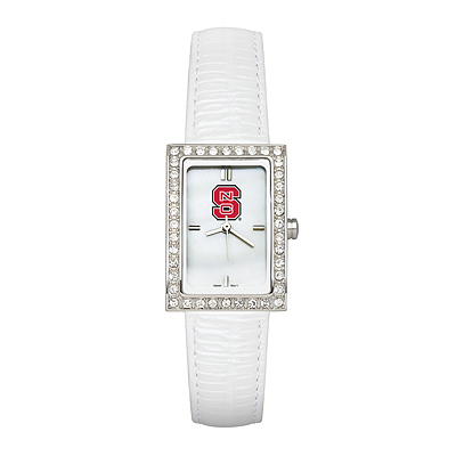 North Carolina State University Ladies Allure Watch White Leather Strap
