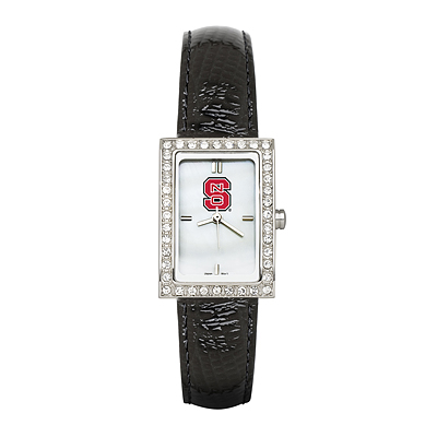 North Carolina State University Ladies Allure Watch Black Leather Strap