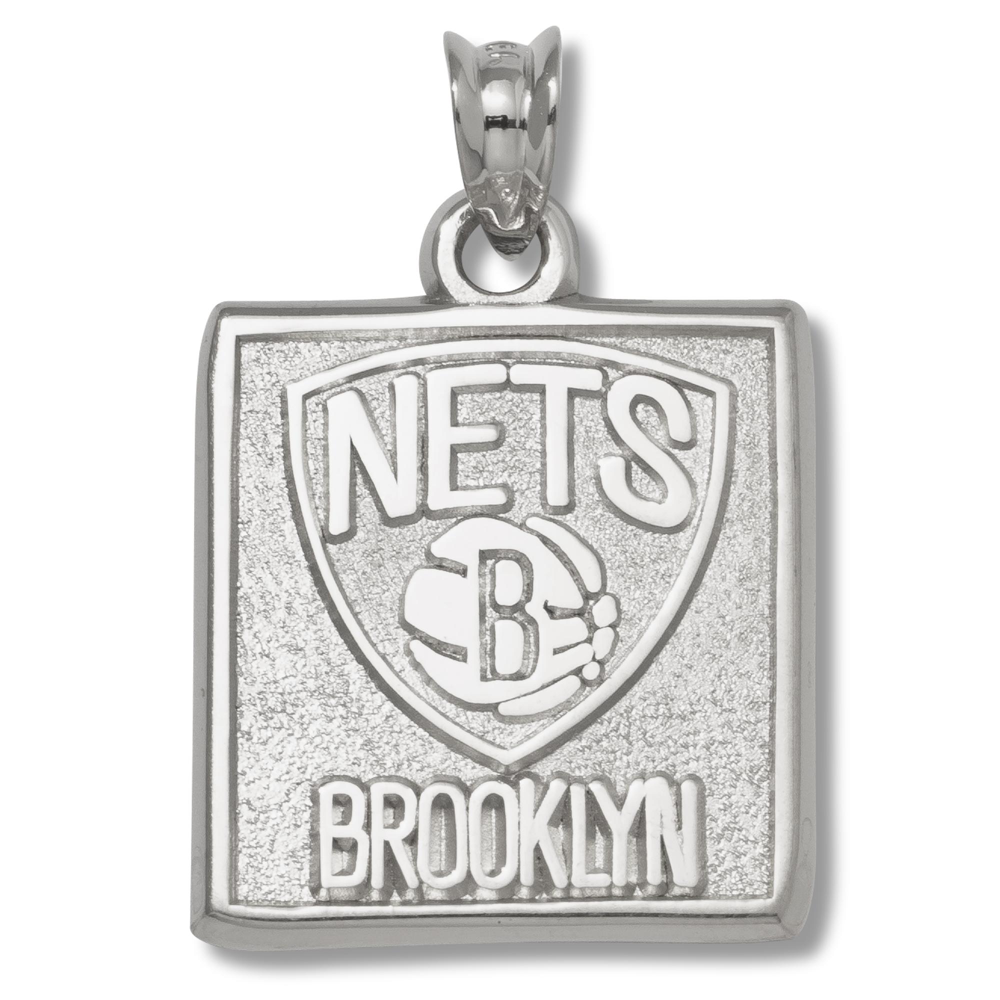 Sterling Silver 5/8in Brooklyn Nets Pendant