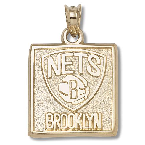 10kt Yellow Gold 5/8in Brooklyn Nets Pendant