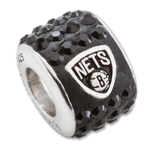 Sterling Silver Brooklyn Nets Premier Crystal Bead