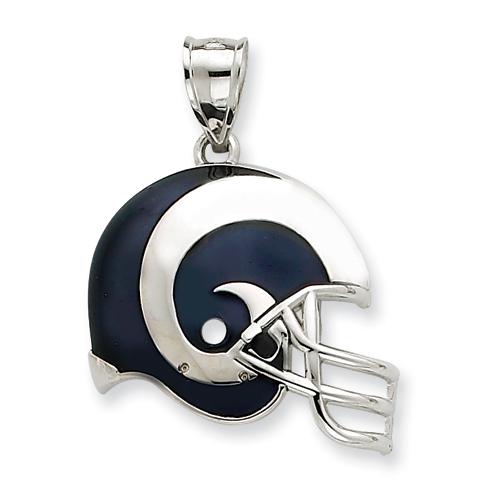 Sterling Silver 3/4in Los Angeles Rams Helmet Pendant