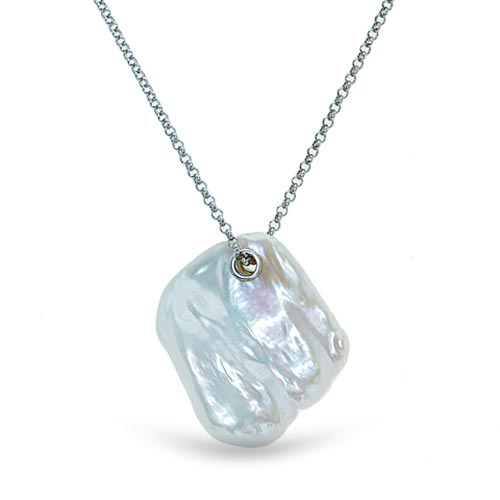 Sterling Silver Single Keshi Cultured Freshwater Pearl Necklace