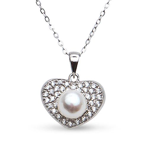 Sterling Silver Cultured Freshwater Pearl Heart Necklace with CZs