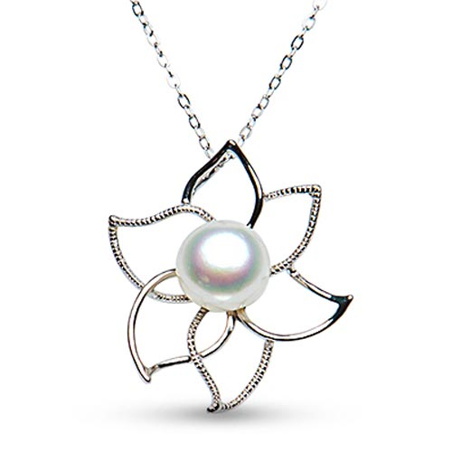 Sterling Silver Cultured Freshwater Pearl Open Flower Necklace