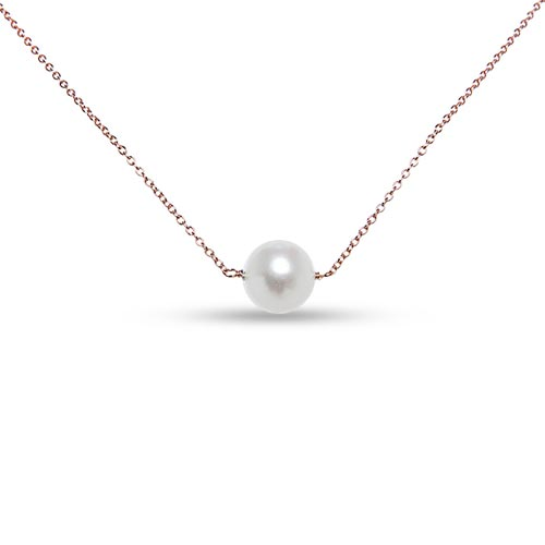 Rose Gold-Plated Sterling Silver Cultured Freshwater Pearl Necklace