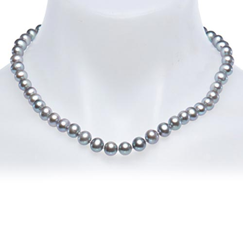 Sterling Silver Near Round Gray Cultured Freshwater Pearl Necklace