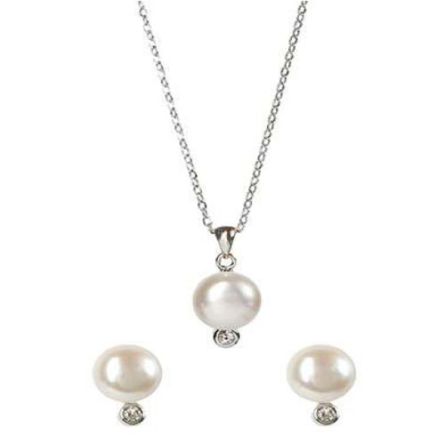 Sterling Silver Cultured Freshwater Pearl Necklace and Earrings Set