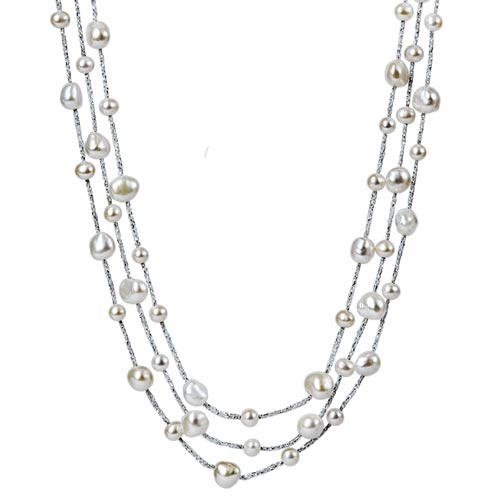 Sterling Silver Freshwater Cultured Pearl Trace 3 Layered Necklace