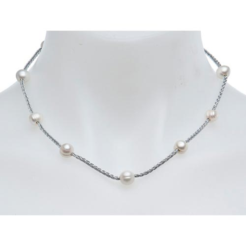 Sterling Silver Circle Cultured Freshwater Pearl Station Necklace 18in