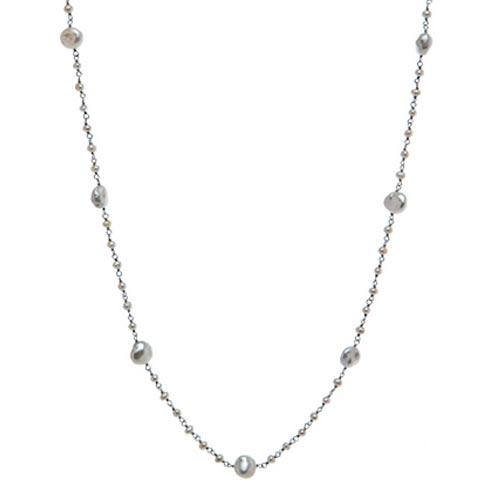 Sterling Silver Circle Cultured Freshwater Pearl Station Necklace 36in