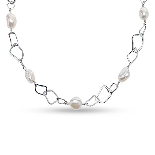 Sterling Silver 10mm White Baroque Cultured Freshwater Pearl Necklace