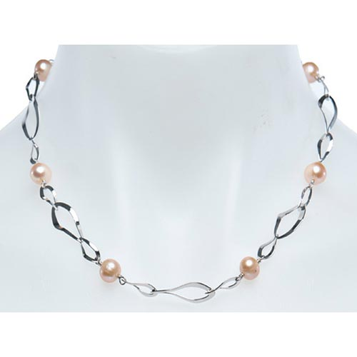 Sterling Silver Pink Cultured Freshwater Pearl Necklace Tapered Links