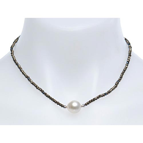 Sterling Silver Circle South Sea Cultured Pearl Pyrite Necklace