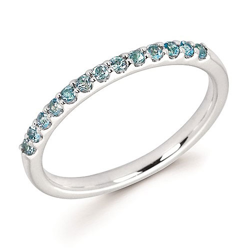 14k White Gold 1/4 ct Stackable Blue Topaz Ring