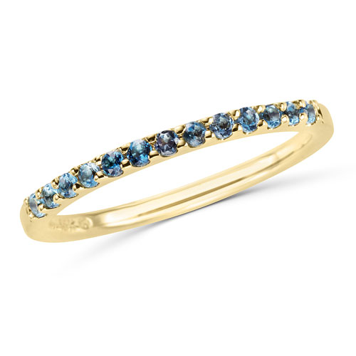 14k Yellow Gold 1/4 ct Stackable Blue Topaz Ring