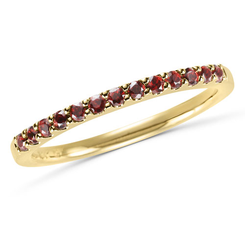 14k Yellow Gold 1/4 ct Stackable Garnet Ring