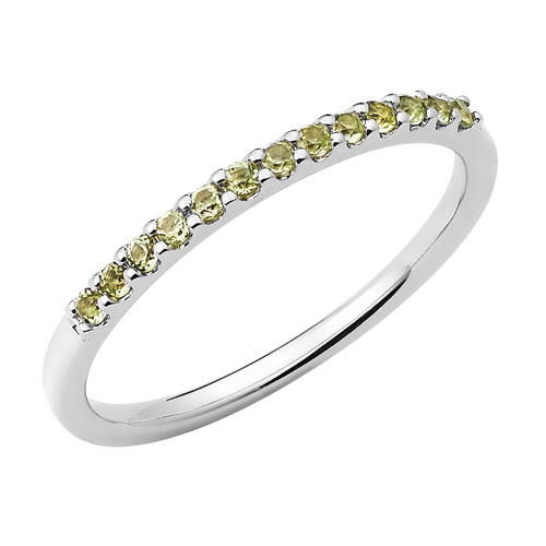 14k White Gold 1/4 ct Stackable Peridot Ring