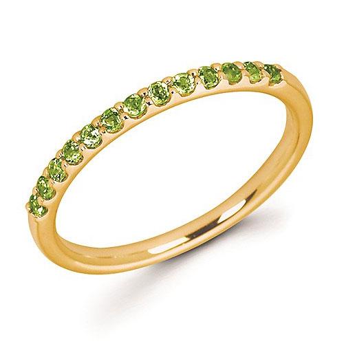 14k Yellow Gold 1/4 ct Stackable Peridot Ring