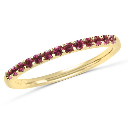 14k Yellow Gold 1/5 ct Stackable Pink Tourmaline Ring