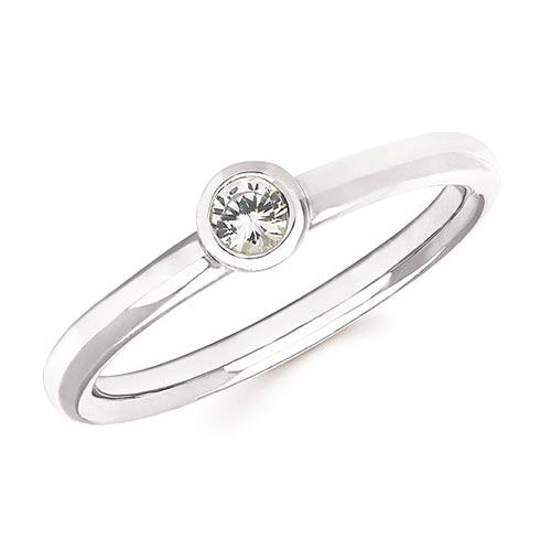 14k White Gold 1/6 ct White Sapphire Bezel Stackable Ring