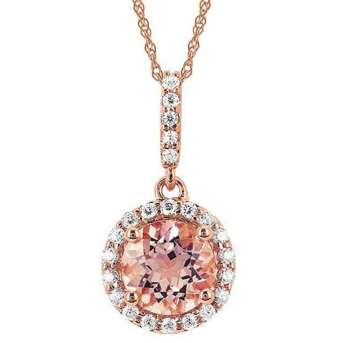 14k Rose Gold .75 ct Morganite Diamond Halo Necklace