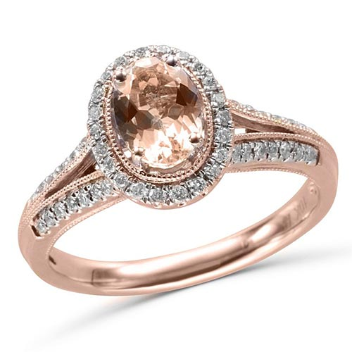 10k Rose Gold 3/4 ct Oval Morganite Engagement Halo Ring with Diamonds