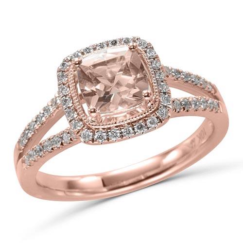 10k Rose Gold 0.8 ct Cushion cut Morganite Halo Ring with Diamonds