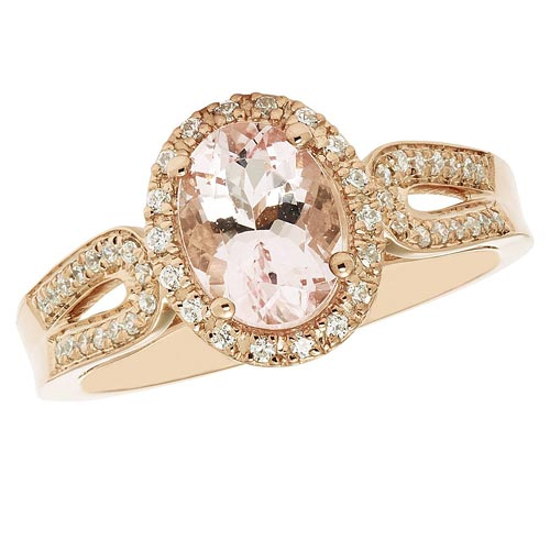 14k Rose Gold 1.25 ct Oval Morganite Engagement Diamond Halo Ring