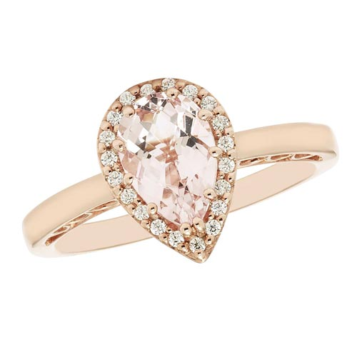 14k Rose Gold 0.85 ct Pear Morganite Halo Ring with Diamonds