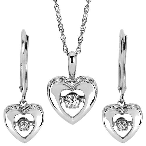 Sterling Silver Shimmering Diamonds Heart Earrings and Pendant Set