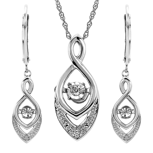 Silver Shimmering Diamonds Heart Infinity Earrings and Pendant Set