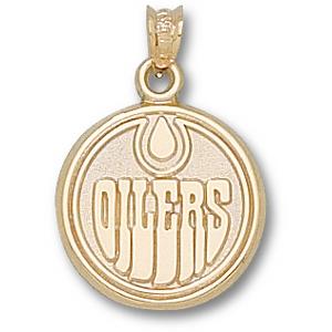 10kt Yellow Gold 5/8in Edmonton Oilers Round Logo Pendant
