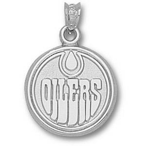 Edmonton Oilers 5/8in Sterling Silver Round Logo Pendant