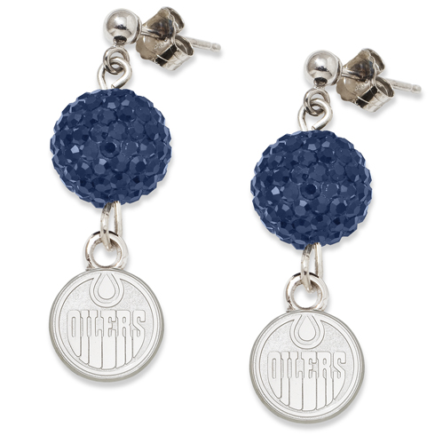 Sterling Silver Edmonton Oilers Crystal Ovation Earrings