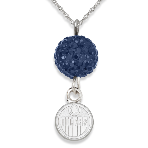 Sterling Silver Edmonton Oilers Crystal Ovation Necklace