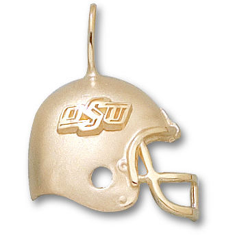 OSU 3/4in Football Pendant 14kt Yellow Gold