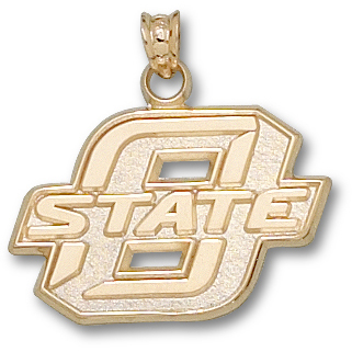 14kt Yellow Gold 5/8in Oklahoma State University O State Pendant