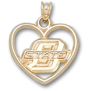 OSU 5/8in Heart Pendant 14kt Yellow Gold