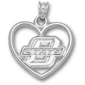Sterling Silver 5/8in O State Heart Pendant