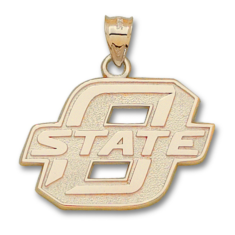 10kt Yellow Gold 1in Oklahoma State University Block Pendant