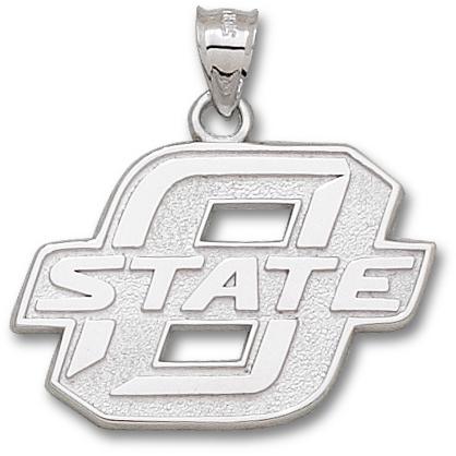Sterling Silver 1in Oklahoma State University Block Pendant