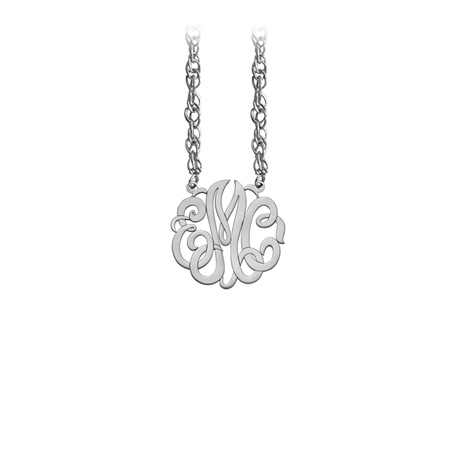 Sterling Silver 5/8in Interlocking Monogram Necklace