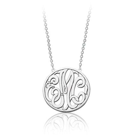 Sterling Silver 5/8in Interlocking Disc Monogram Necklace