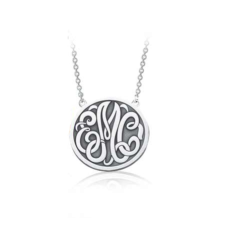 Sterling Silver 5/8in Classic Monogram Necklace