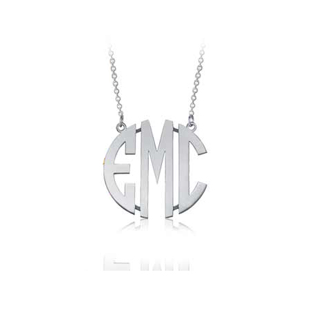 Sterling Silver 5/8in Circle Monogram Necklace