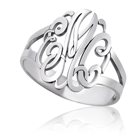 Sterling Silver Interlocking Monogram Ring with Split Shank
