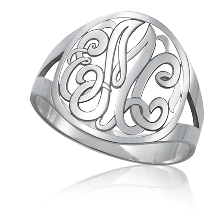 Sterling Silver Classic Interlocking Monogram Ring